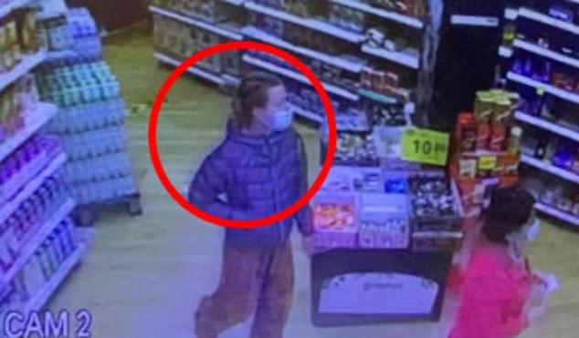 Grainy CCTV footage (pictured) - Ms Dingley's last recorded movements - apparently shows her questioning the price of seeds with the store manager