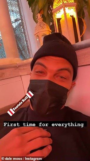 First timer: Moss also took to his Insta Story from the studio, as he enjoyed his massage, writing: 'First time for everything'