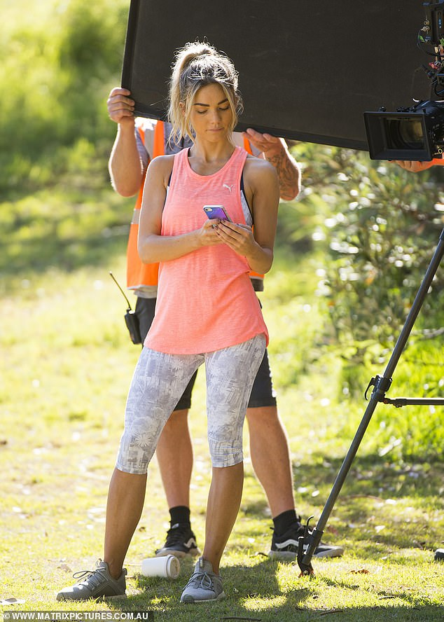 Tickled: Later, Sam changed for further scenes, this time wearing a bright pink Puma tank top