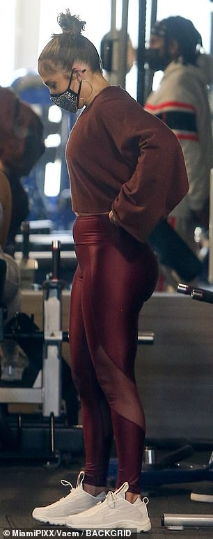 Iron: She was seen in the gym sweating and concentrating on her legs