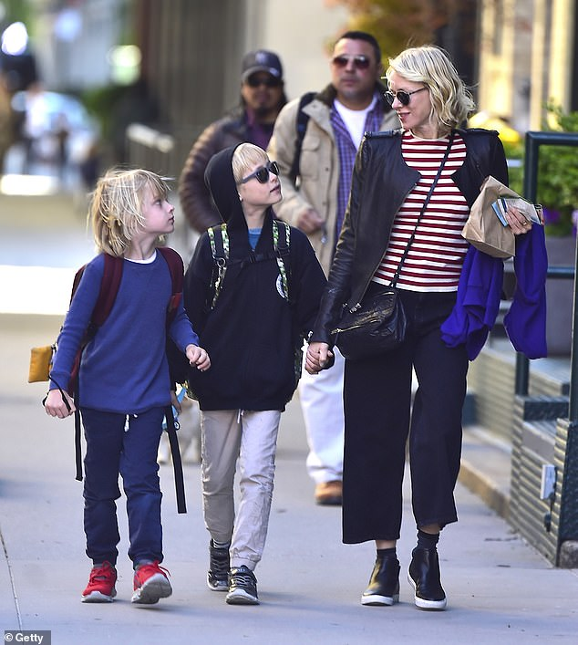 Family life: Naomi and her ex-partner Liev Schreiber share two sons: Samuel, known as Kai, and Alexander, known as Sasha. Pictured: Naomi with her sons on May 16, 2016, in New York