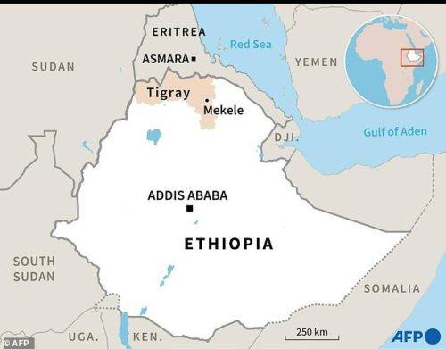 Map of Ethiopia locating Tigray