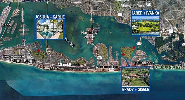 The Kushners will live close to Tom Brady and Gisele's on Miami's 'Billionaire Bunker' with Jared and a stones throw away from Karlie Kloss and Joshua Kushner