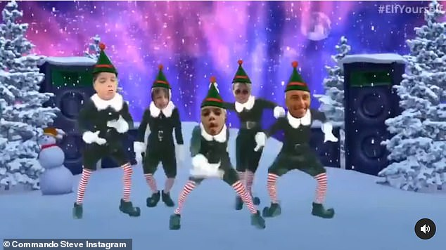 Cute:While his youngsters sporadically appear with Steve in pictures on his Instagram, the photo of the five of them together was a first in 12 months. The last time they were seen all together was in a short video uploaded to his account of the five dancing as elves to celebrate Christmas 2019.