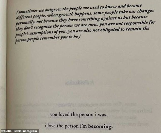 Hidden message: Richie previously took to her Instagram Story with a poem excerpt that some of her 6.5million followers thought was directed at Disick