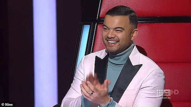 'I did actually mention that to my manager': Shannon joked he was happy Guy was already a judge on The Voice, and made his chances easier of landing a role on the Australian Idol reboot.Pictured: Guy Sebastian on The Voice
