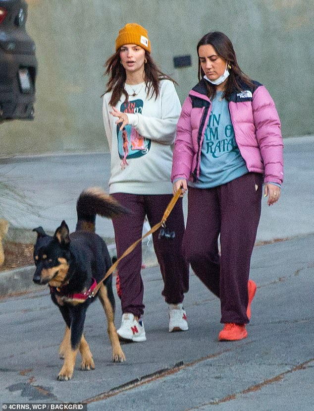 Casual: Emily Ratajkowski took a stroll Monday in LA with her dog Colombo and a female pal. She wore a baggy sweatshirt and loose-fitting sweatpants for her walk