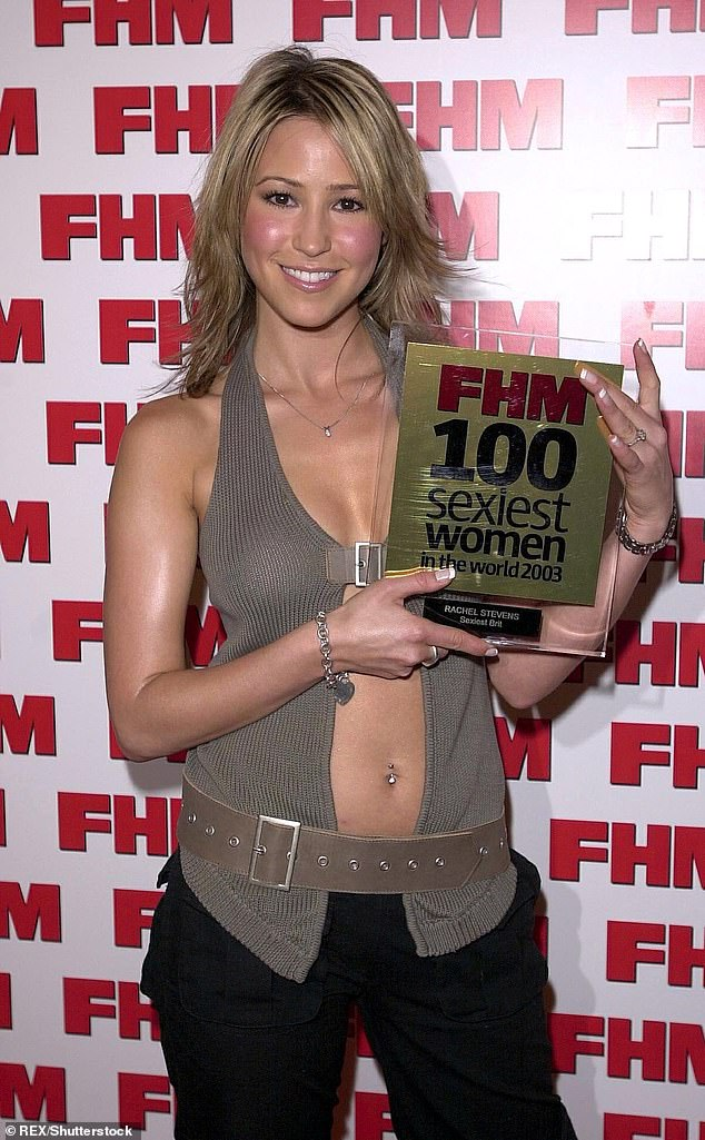 Stunner: She regularly topped FHM's Sexiest Women lists in the 90s and Rachel Stevens has said she's proud of her lads mag past (pictured in 2003)