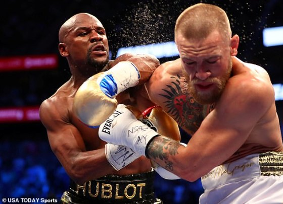 McGregor's only previous professional boxing match was a defeat to Floyd Mayweather Jr.  in August 2017 in Las Vegas (photo)