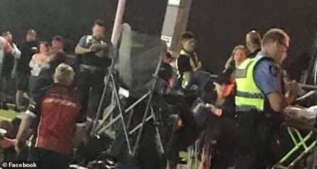 Emergency services at the Perth Motorplex are seen shorting after he was shot in front of horrified families