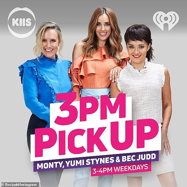 WAG Rebecca Judd (middle) farewelled her 3pm Pick-Up radio show on Wednesday with a sweet tribute to her colleagues... but failed to mention co-host Yumi Stynes (right). Pictured left: Katie 'Monty' Dimond