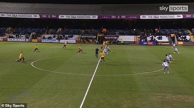 Booing was heard when Cambridge players took the knee before their game with Colchester