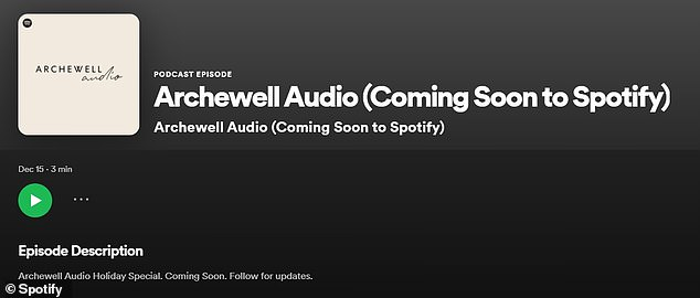 The Duke and Duchess of Sussex have announced they will produce and host their own shows as part of the new Archewell Audio (pictured) - starting with a 'holiday special' that 'elevates audiences around the world' '