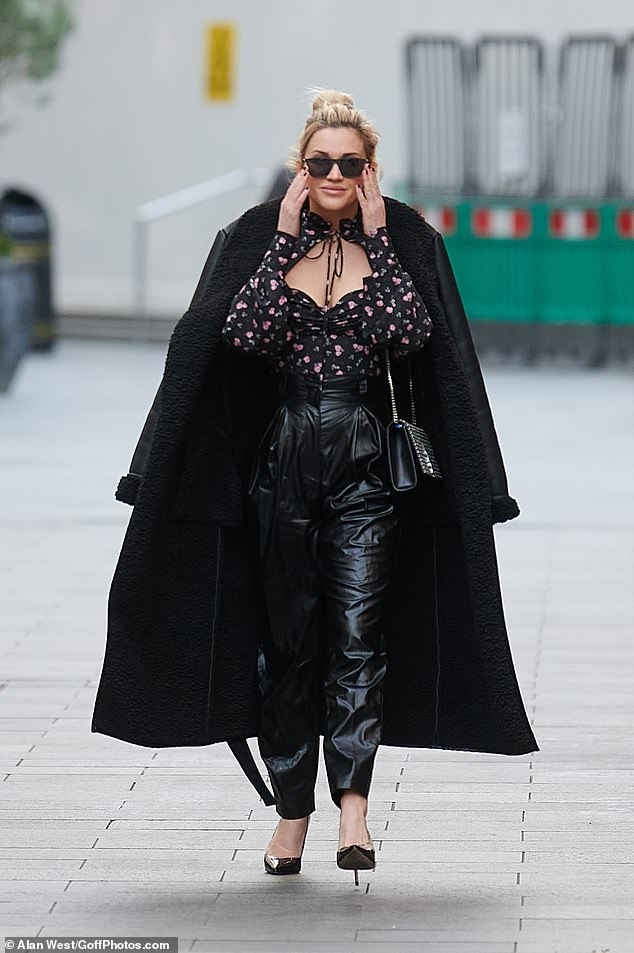 There she goes:Ashley Roberts made a showstopping exit from London 's Global Studios after presenting her Heart FM radio showon Wednesday