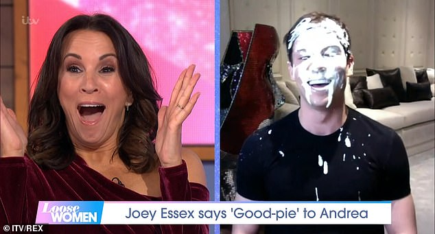 Shock:One big surprise included Joey Essex, who she famously pied in 2017, appearing via video link, where he proceeded to pie himself