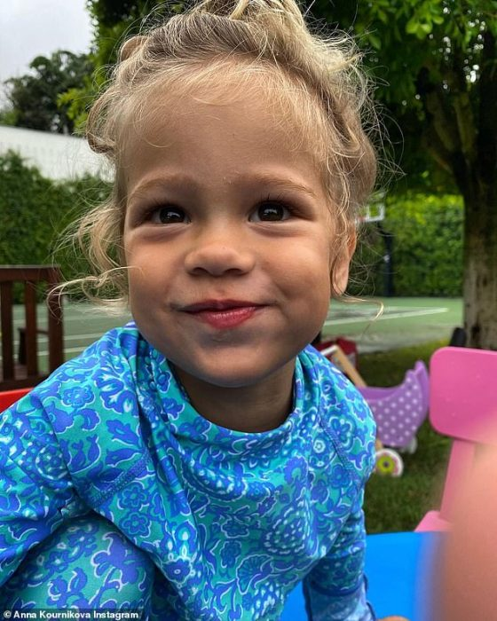 Lookalikes: Anna Kournikova, 39, shared adorable photos of her twins Lucy (pictured) and Nicholas on the occasion of their third birthday on Wednesday