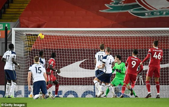 Roberto Firmino (No. 9) made Spurs pay in the dying minutes as they headed for the winner
