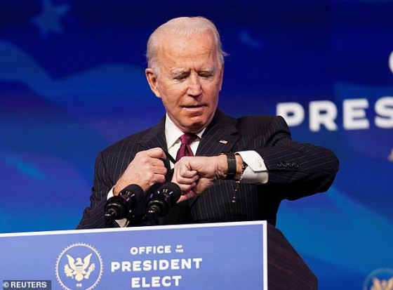 It's been six weeks since Trump lost the election and this week the College of Elections confirmed Joe Biden as the winner in the controversial primary race.  Picture of Biden looking at his watch at Tuesday 's speech