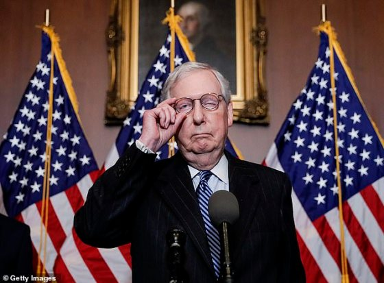 On Tuesday, Senate Majority Leader Mitch McConnell identified Biden as the president - elect for the first time, a sign that a Republican has confessed.  Trump tweeted in response: 'Mitch, 75,000,000 VOTES, record for President President (by many).  Too early to ignore.  The Republican Party must finally learn to fight.  People are angry!  '