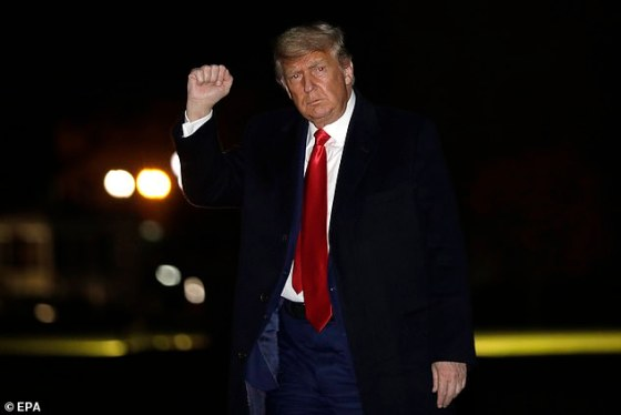President Donald Trump has told councilors he will refuse to leave the White House on Trust Day and has been throwing a major 'tantrum temper' after losing an election, according to a new report.  Photo of Trump on December 12th