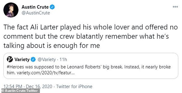 Austin Crute (Trinkets, Booksmart) tweeted that he believed the former Buffy the Vampire Slayer was because 'the crew blatantly remembers what he's talking about is enough for me'