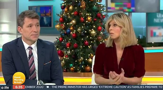 Heartbreaking:Kate also spoke about the possibility of not being able to see her critically-ill husband at Christmas during an emotional chat on Thursday's Good Morning Britain