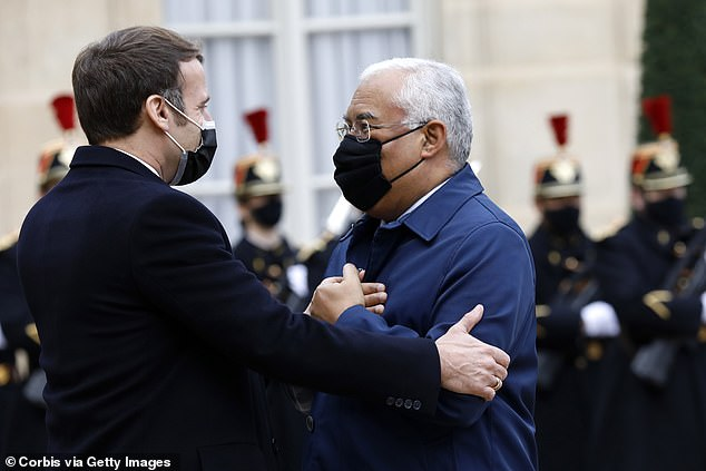 WEDNESDAY: French President Emmanuel Macron with Prime Minister Of Portugal Antonio Costa, 59, at the Elysee Palace on Wednesday