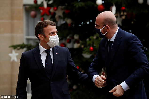 MONDAY: Macron welcomesEuropean Council President Charles Michel to the palace