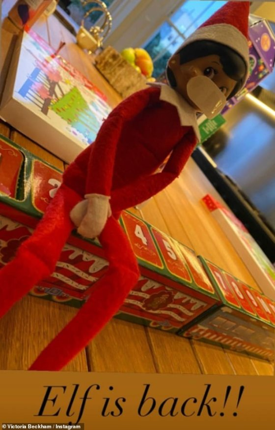 Always wear your mask!  Earlier this month, Victoria shared a glimpse of her COVID-friendly Elf on the Shelf challenge by sticking a mask on the little guy's face