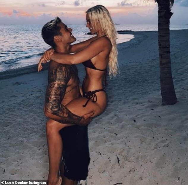 Love is in the air! The reality star, 22, sported a similar swimsuit last Friday as she seductively straddled her beau Luke Mabbott and gazed lovingly into his eyes in another Instagram snap