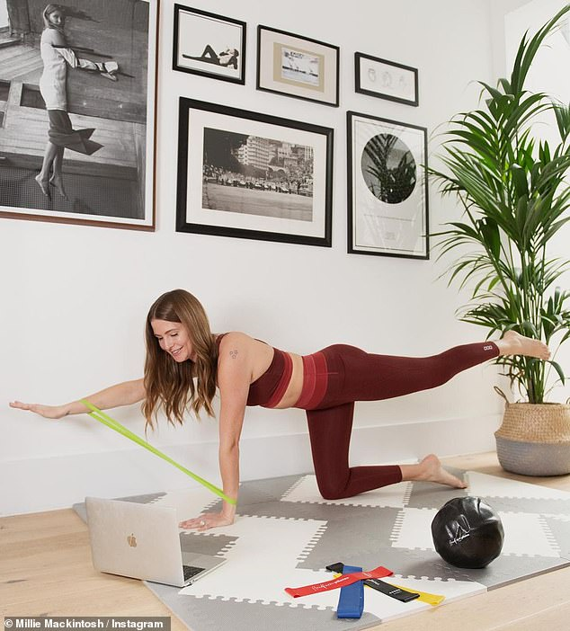 Postpartum: Captioning her images, Millie said: 'At home workouts have been an essential part of my post-natal recovery to strengthen my body'