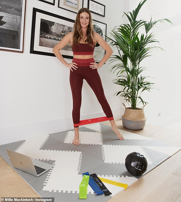 Health and fitness: Over on her grid, Millie further showed off her form as she worked up a sweat with more exercises, using a weighted ball and resistant bands