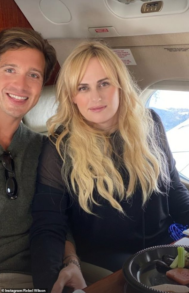 High fliers:Rebel and Jacob shared a photo of themselves on the jet prior to landing in Aspen for the event