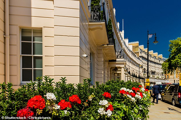 Pictured: Grosvenor Crescent in Belgravia in London is one of the most expensive streets