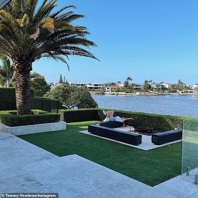 New home: Often known for posting risque poolside snaps in barely-there bikinis, Tammy gave devoted fans a sneak peek of her new infinity pool and backyard