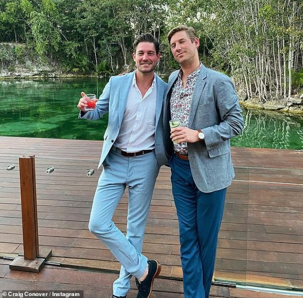 False Claims: The infamous party boys from the hit Bravo show appeared on Watch What's Happens Live on Thursday, where Kroll raged by claiming Lagun Beach star Conover (L: Conover, R: Kroll)