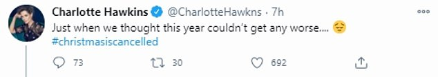 Upset:The account had replied to Kate's co-host, Charlotte Hawkins, who had tweeted: 'Just when we thought this year couldn't get any worse.... #christmasiscancelled'.