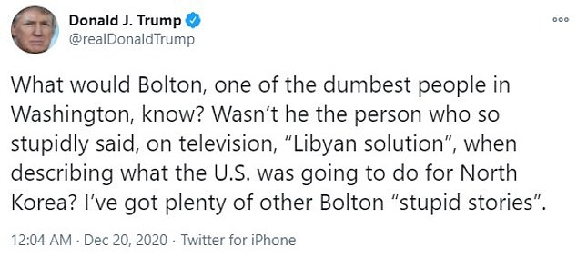 What would Bolton, one of the dumbest people in Washington, know?  ¿Trump tweeted early Sunday morning.