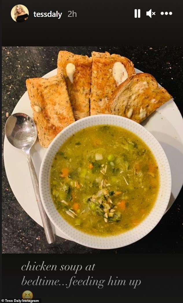 'Feed him': Strictly Come Dancing co-host Tess Daly took her stories to Instagram and shared a photo of chicken soup and bread she made for her other half
