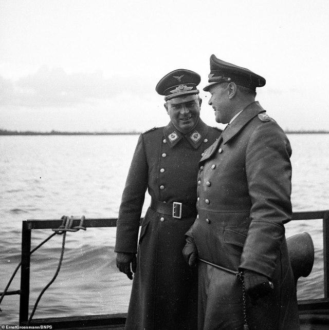 Nazi commander Generfeldmarshcall Albert Kesselring, right, inspecting the trials with Major Friedirch Siebel on board one of the ships