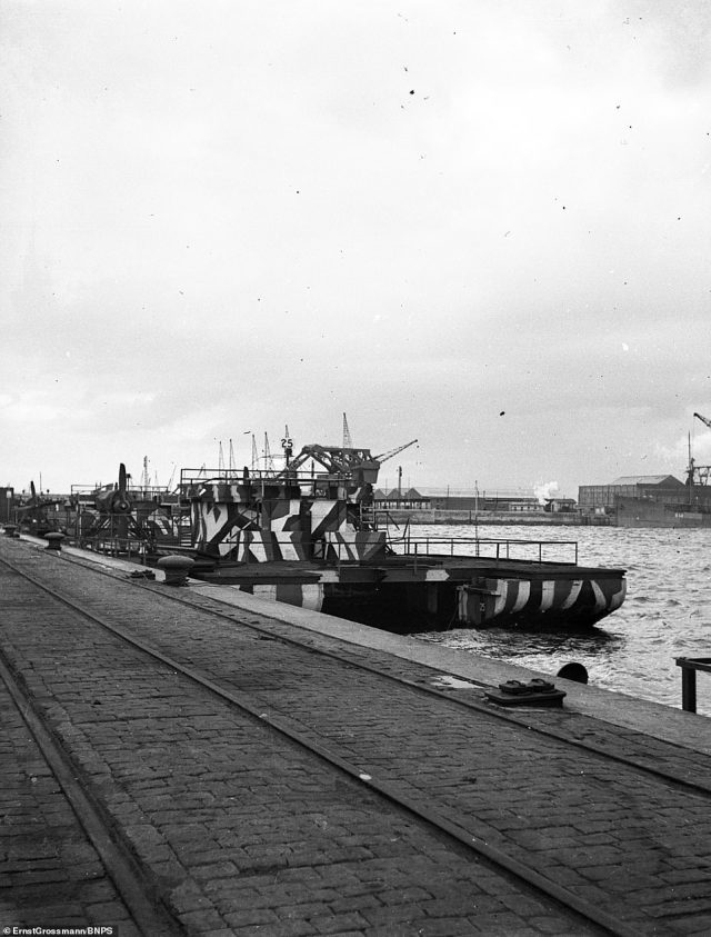 A Sibel Ferry tied up at Antwerp Haven.They were called the Siebel Ferry, named after Major Friedrich Siebel who was tasked with designing them