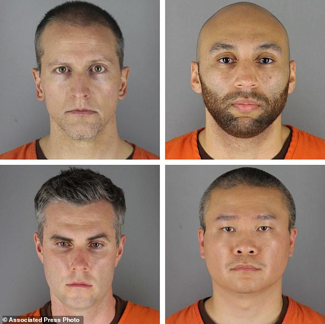 The defendants in the George Floyd case (clockwise from top left): Derek Chauvin, J. Alexander Keung, Tou Thao and Thomas Lane