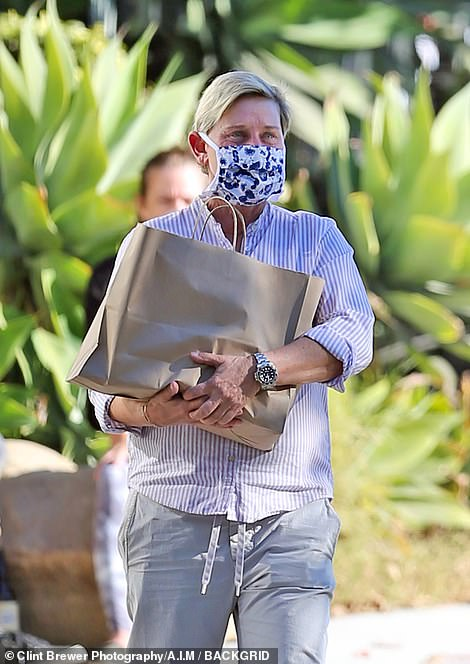 Ellen DeGeneres was spotted out shopping in California on Saturday after finishing her COVID-19 quarantine