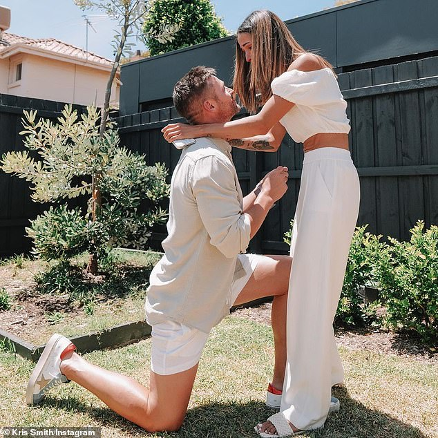 It's official! The pair were celebrating their daughter Frankie's first birthday with a party in their backyard when Kris asked for Sarah's hand in marriage