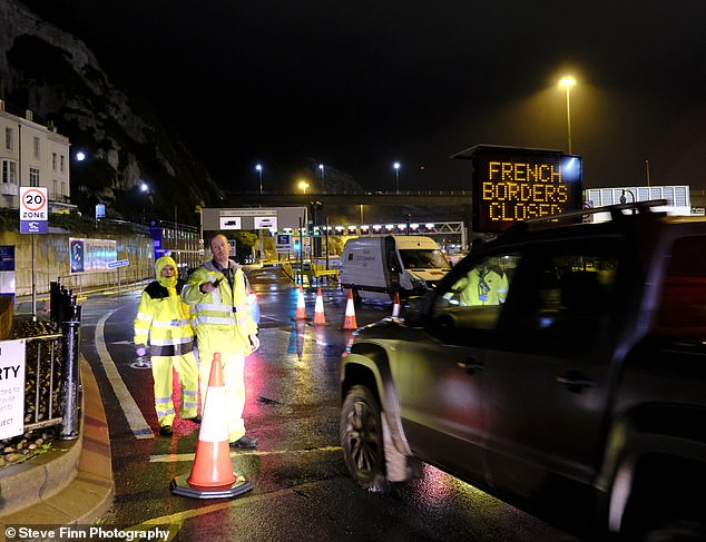 The Port of Dover in Kent is pictured today after it was closed due to France shutting its border