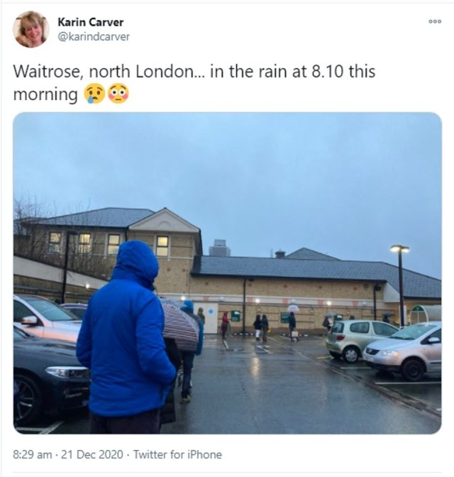Yesterday morning shoppers in north London were seen waiting for their turn to go shopping as long queues grew as the hours went by