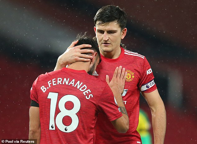 Maguire is top of the list, with team-mate Bruno Fernandes fourth on the outfield leaderboard