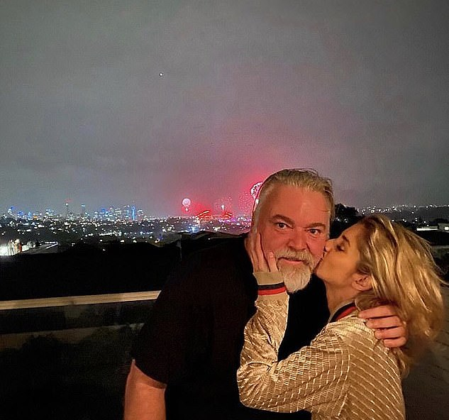 Official: The couple went public with their romance on New Year's Eve, when Tegan shared this picture of herself kissing Kyle on the cheek in front of the Sydney Harbour Bridge