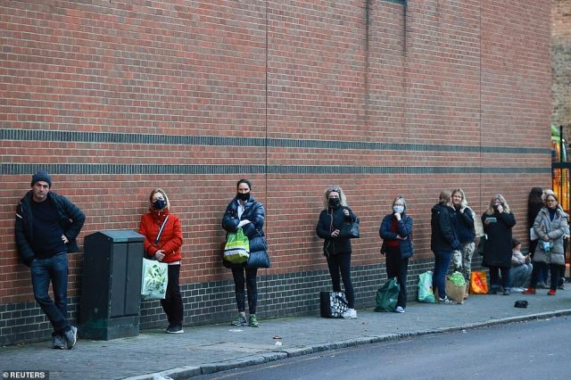 This Waitrose store in London also had long queues forming on Tuesday morning as people tried to buy their groceries before Christmas
