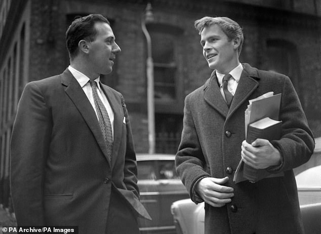 Walter Hesketh (left), an unsuccessful British Union Movement candidate in the Moss Side Parliamentary by-election in 1961, is pictured with Max Mosley (right), who was then his agent